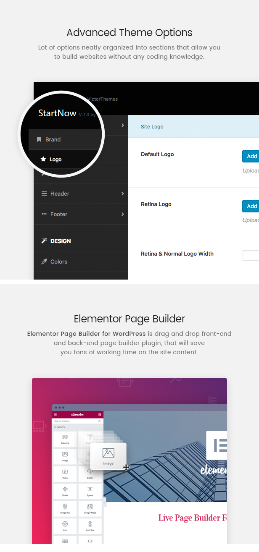 StartNow Theme Options & Elementor