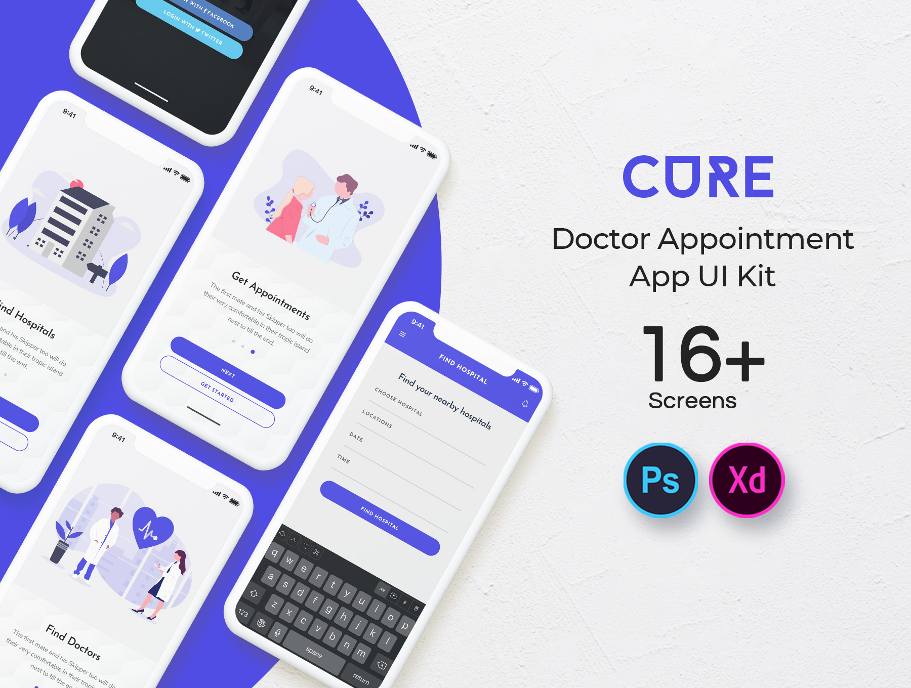 Cure: Doctor Appointment Mobile App UI Kit