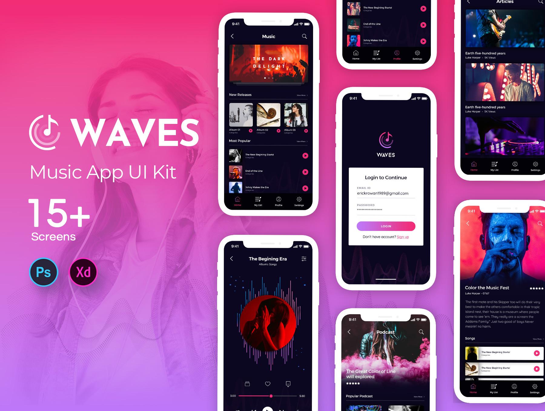 Waves: Music Mobile App UI Kit