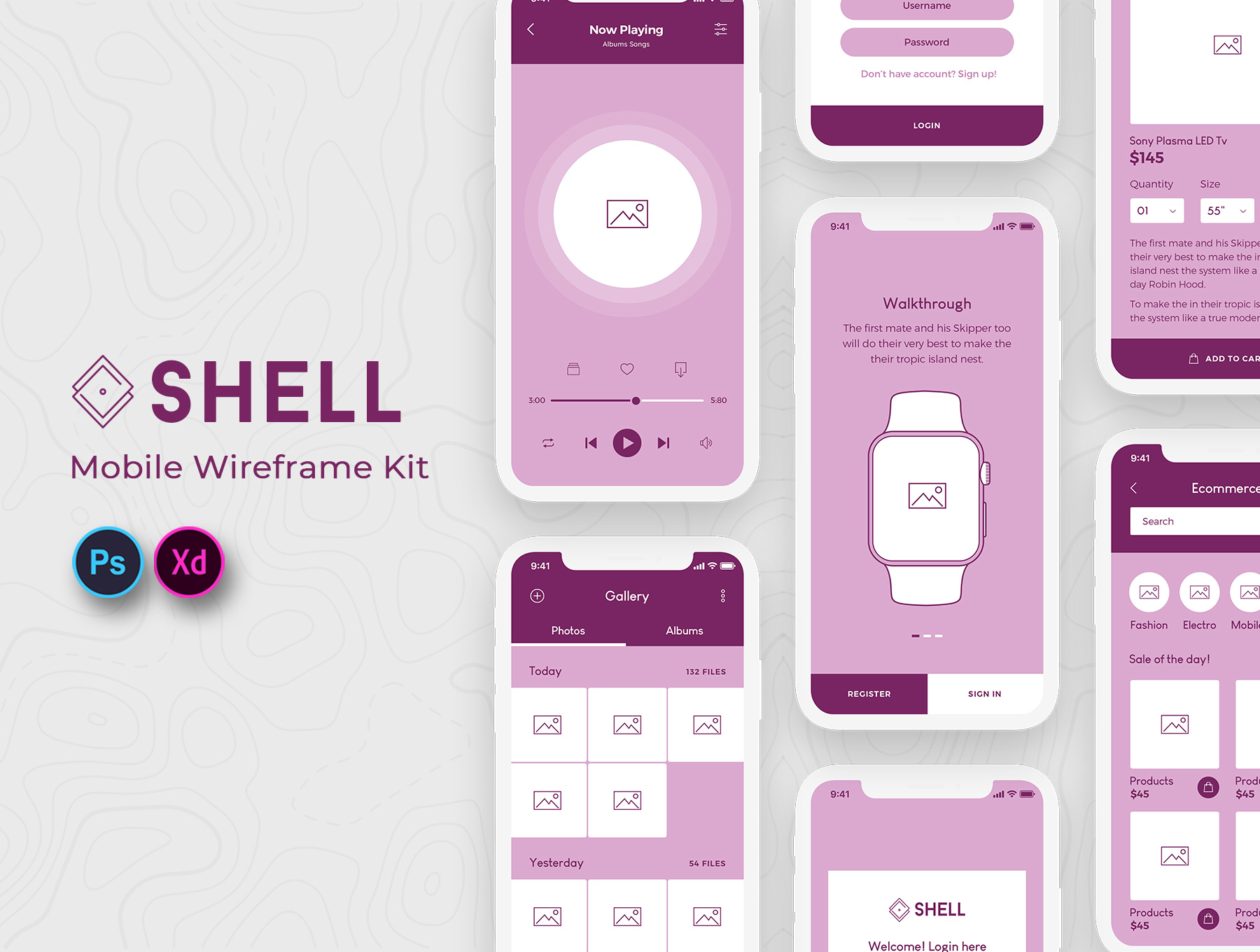 Shell Mobile Wireframe Kit