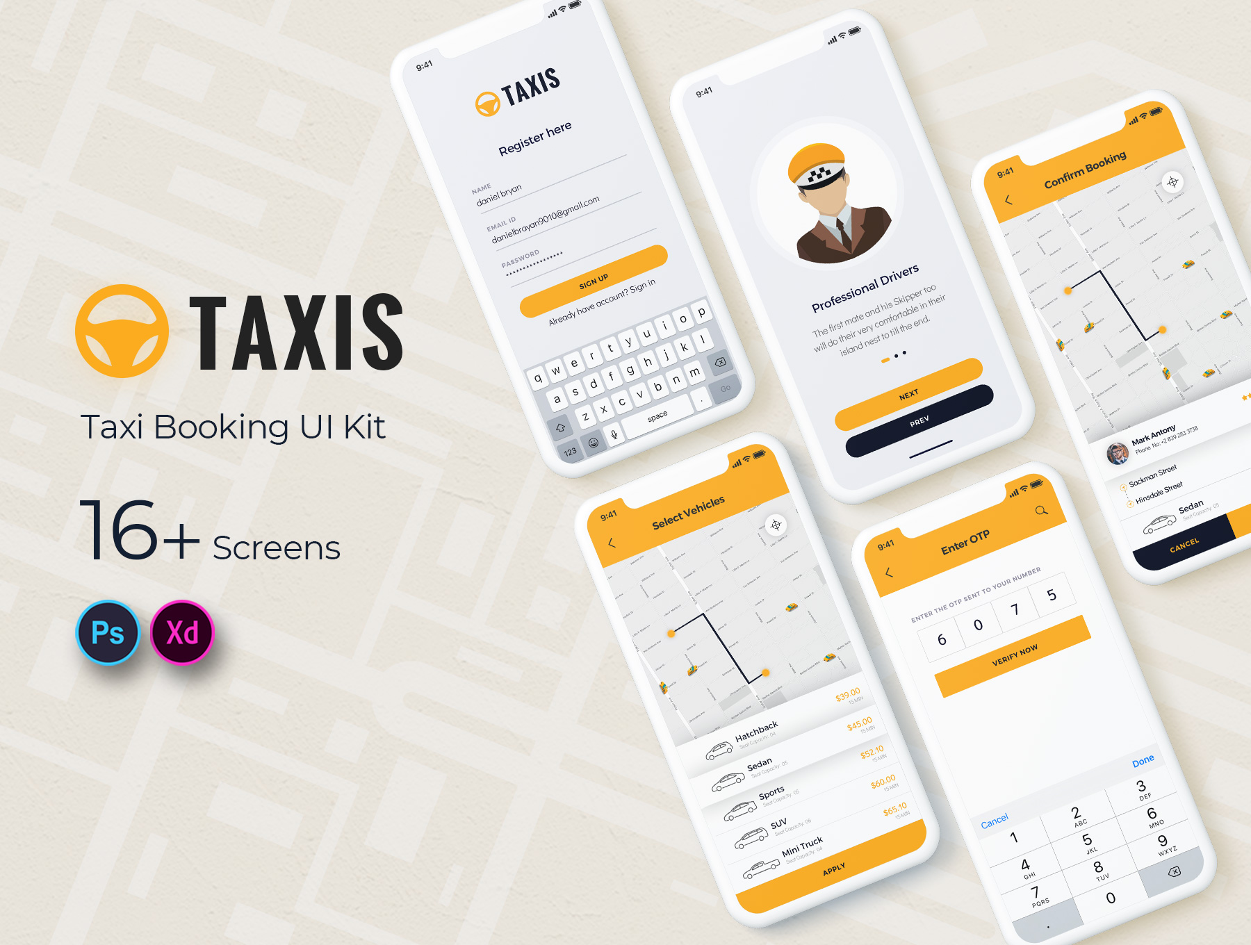 Taxi Booking Mobile App UI Kit