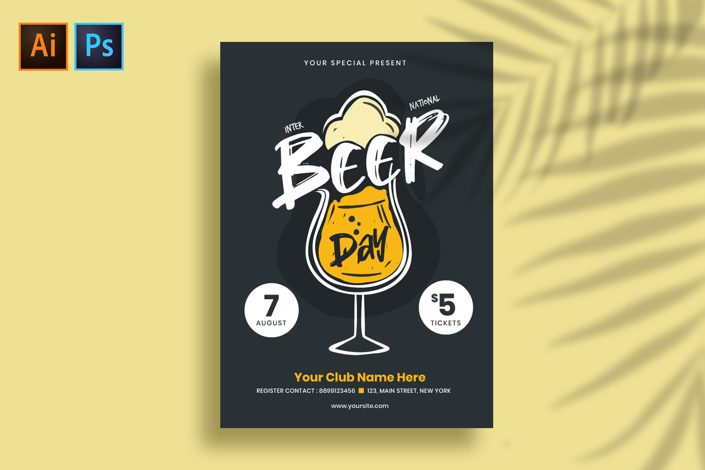 International Beer Day Flyer/Poster Template