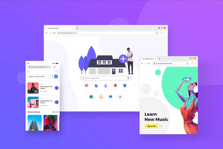 Browser Window Frame Mockups