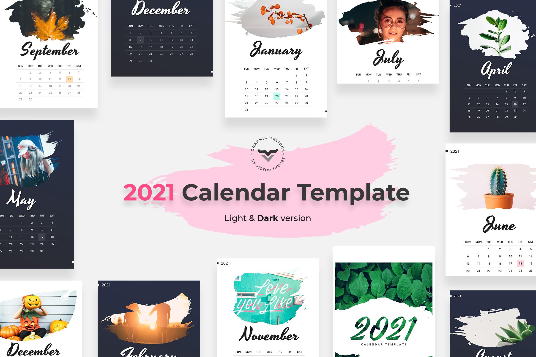 2021 Calendar Light & Dark Version
