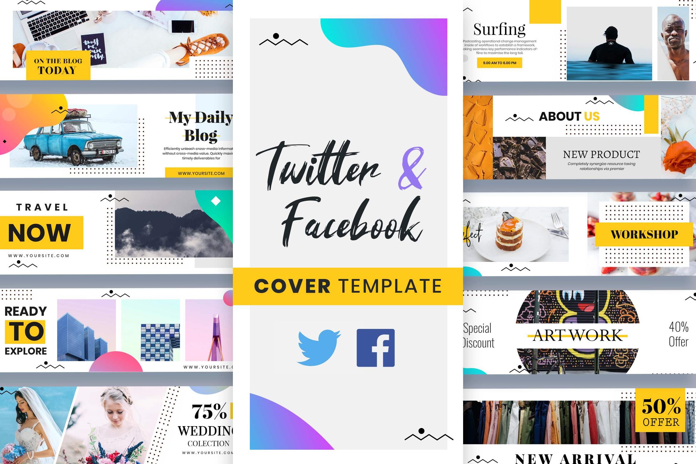 Twitter & Facebook Cover Templates