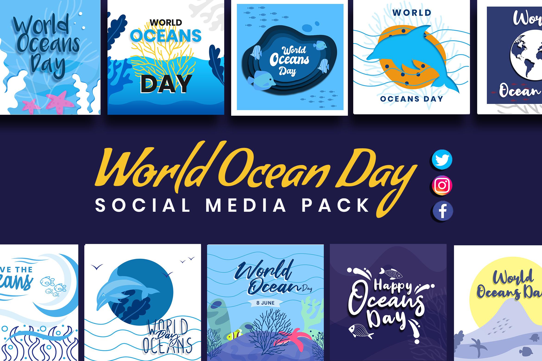 World Ocean Day Social Media Template