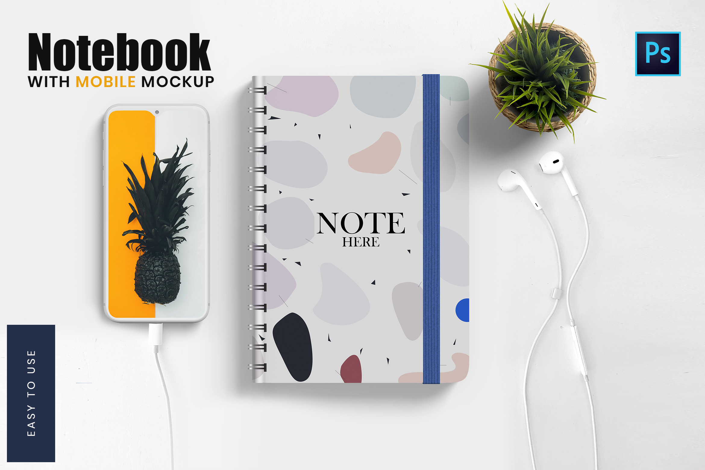 Note Book with Mobile Mockup