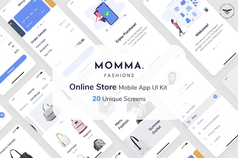 Momma Online Store Mobile App UI Kit