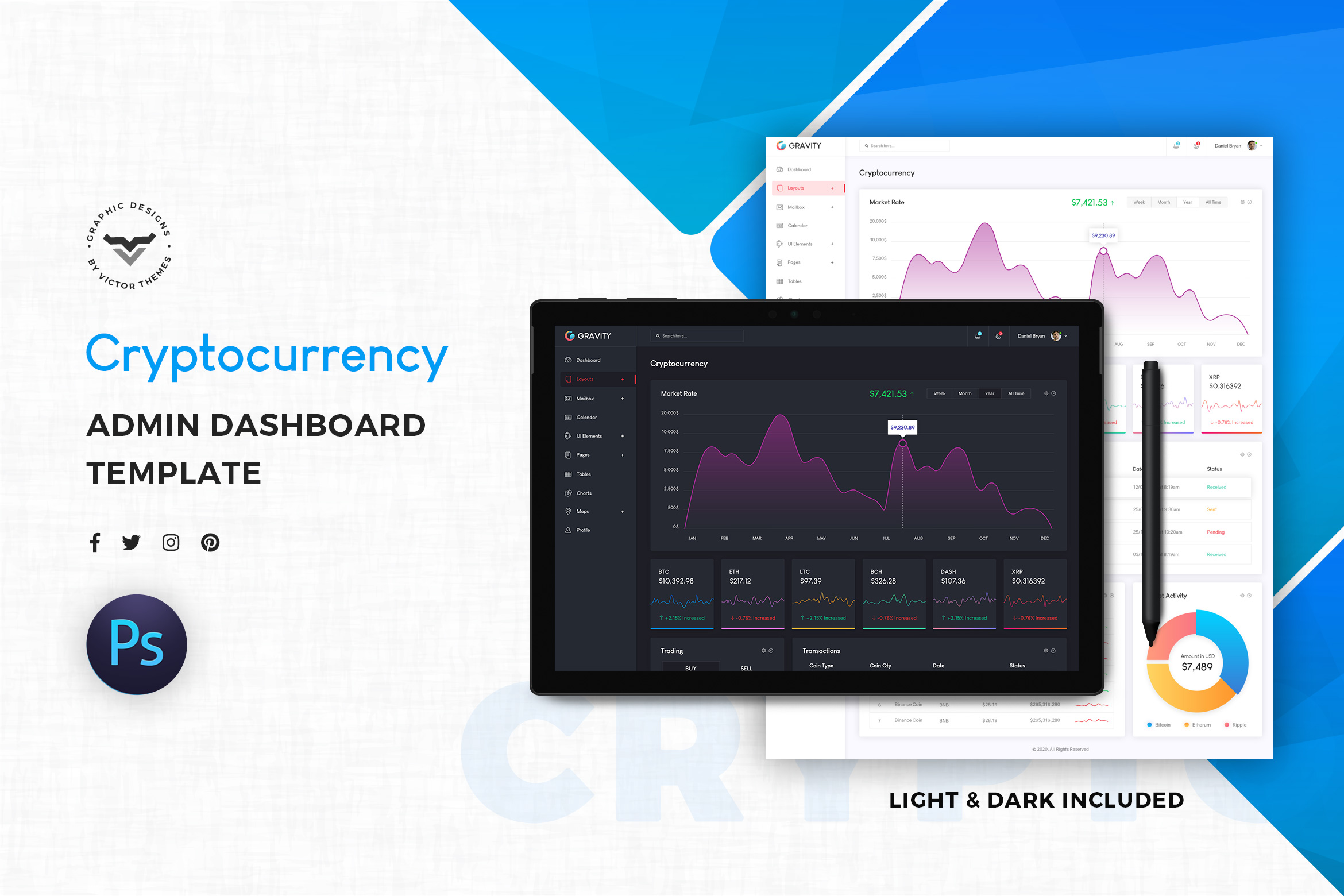 Cryptocurrency Admin Template UI Kit
