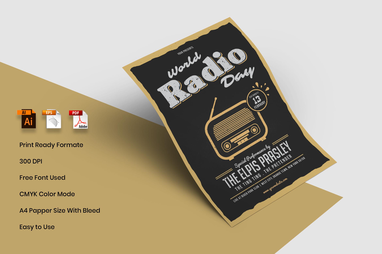 World Radio Day Flyer Template