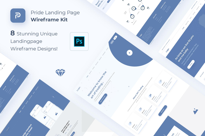 Pride Landing Page Wireframe Kit