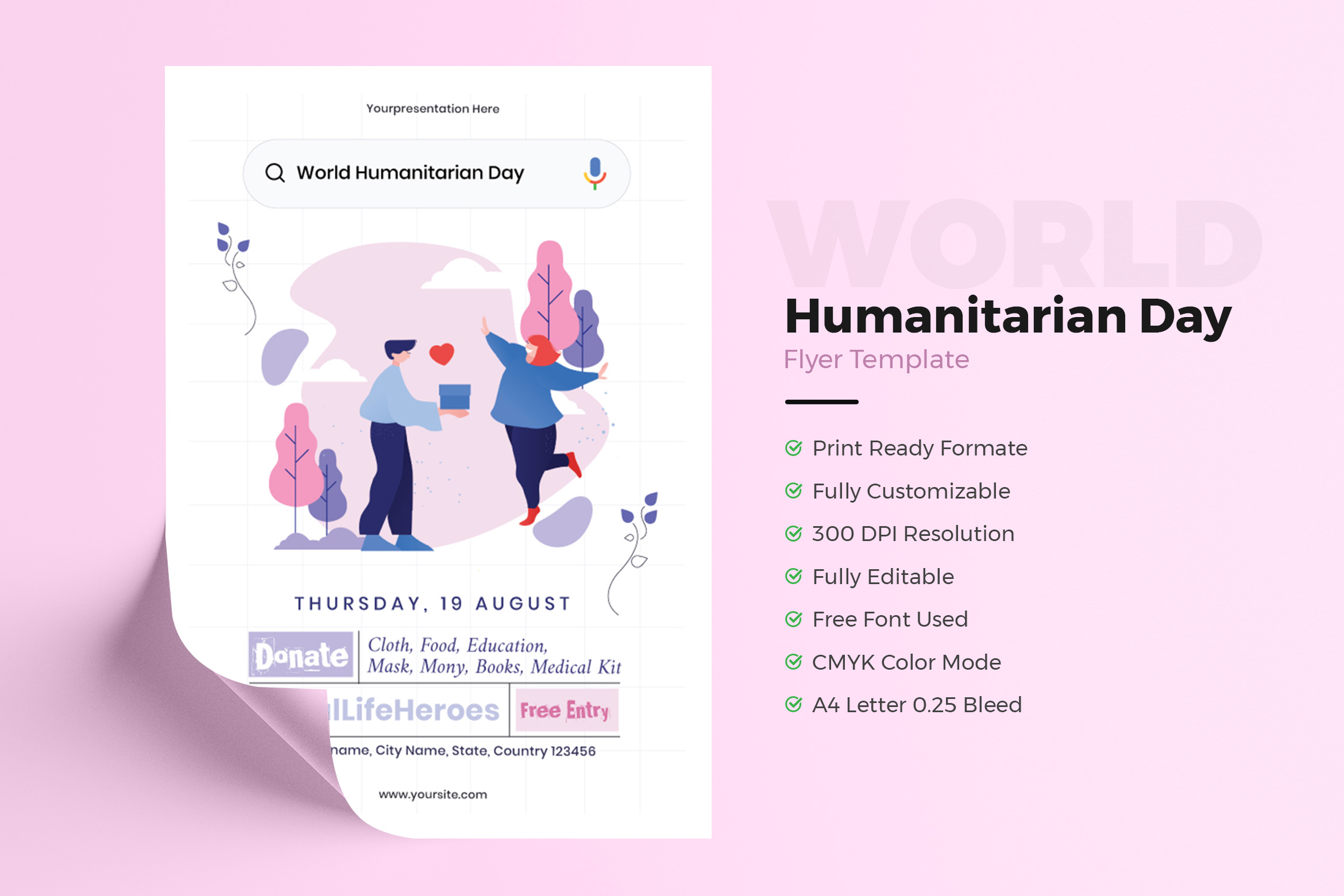 World Humanitarian Day Flyer Template