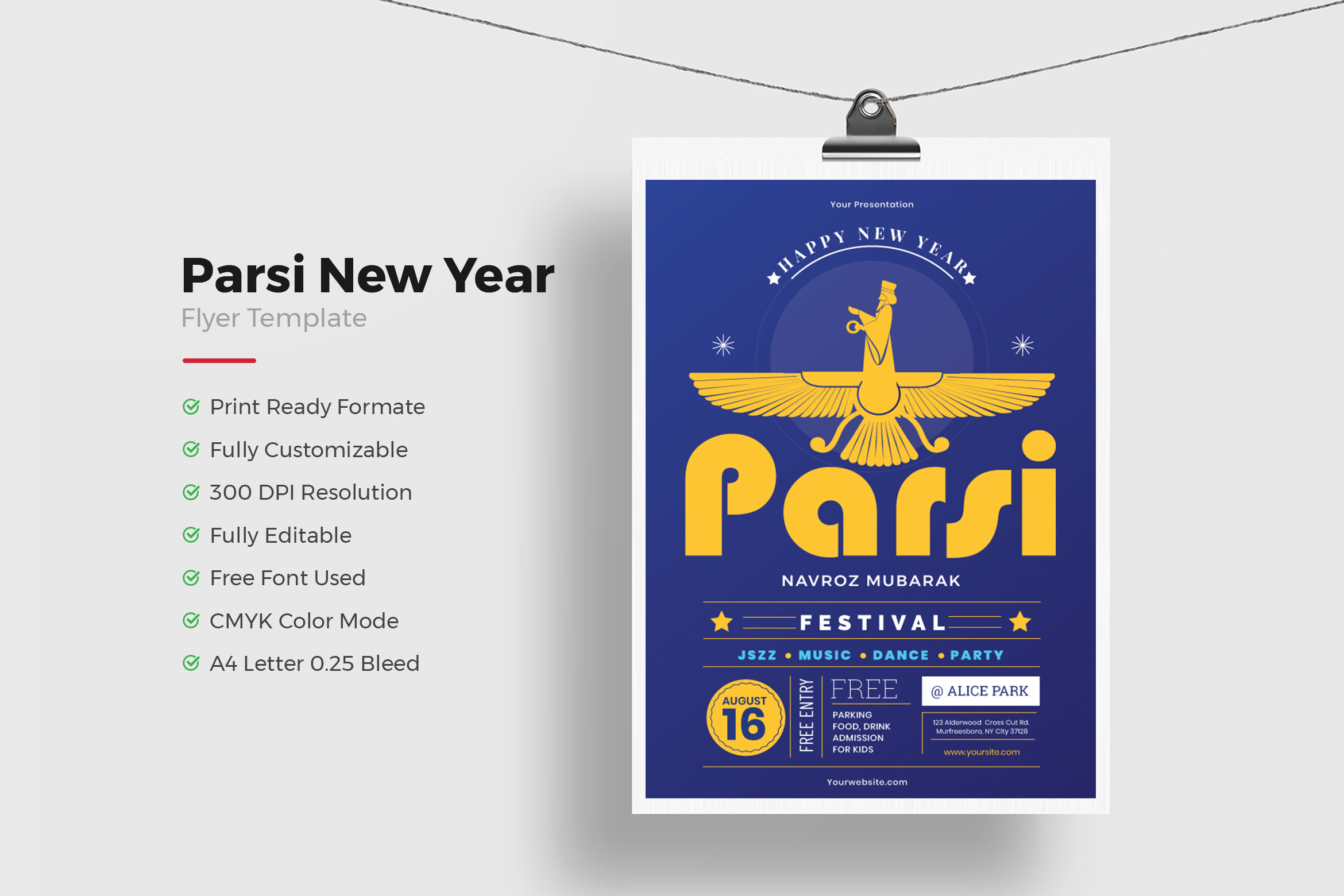 Parsi New Year Flyer Template