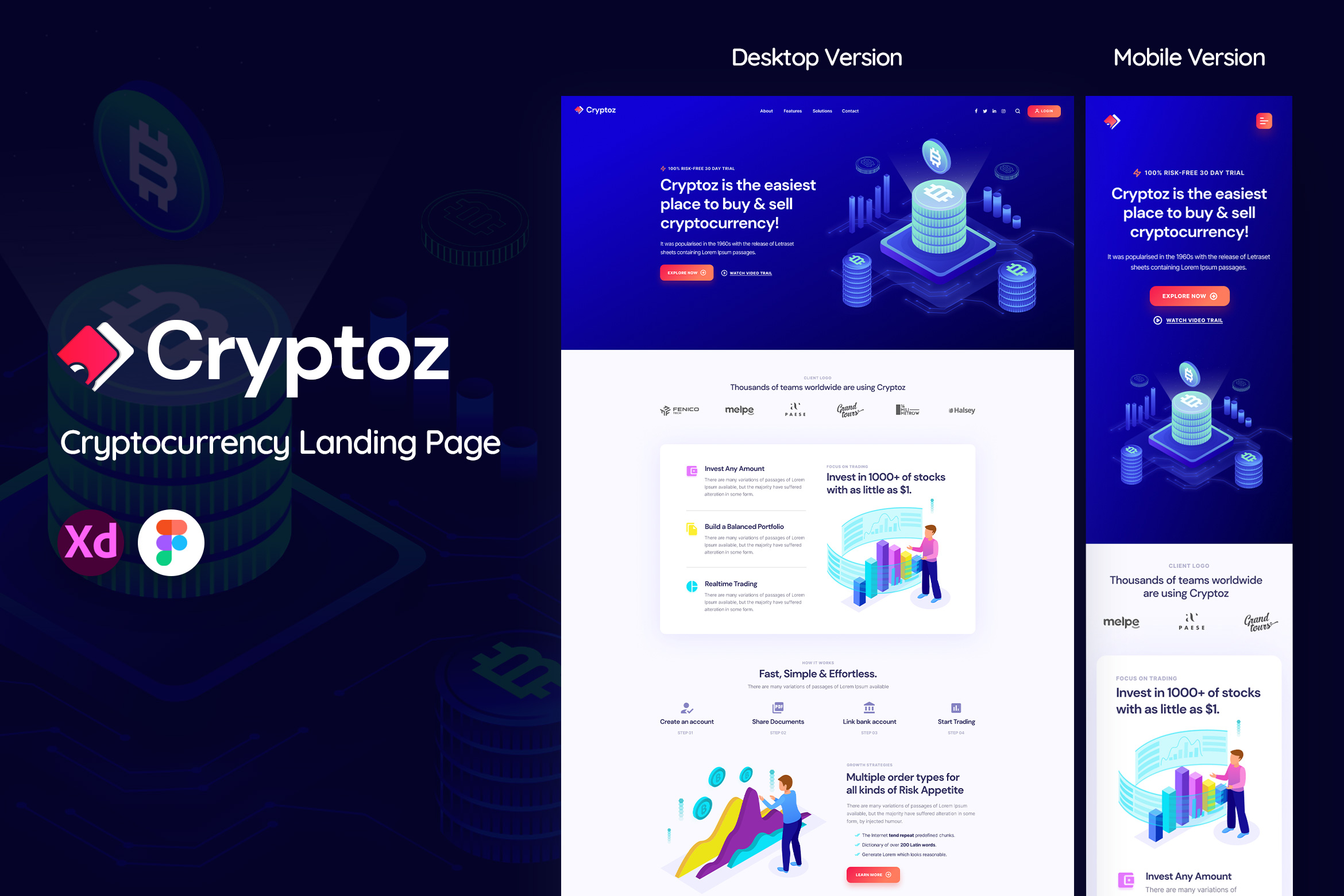 Cryptoz Mobile & Web Landing Page Template