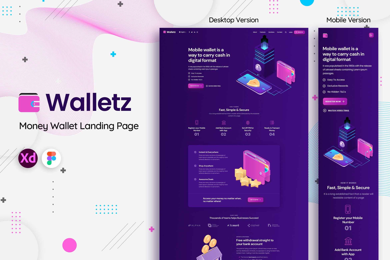 Walletz : Money Wallet Landing Page Template