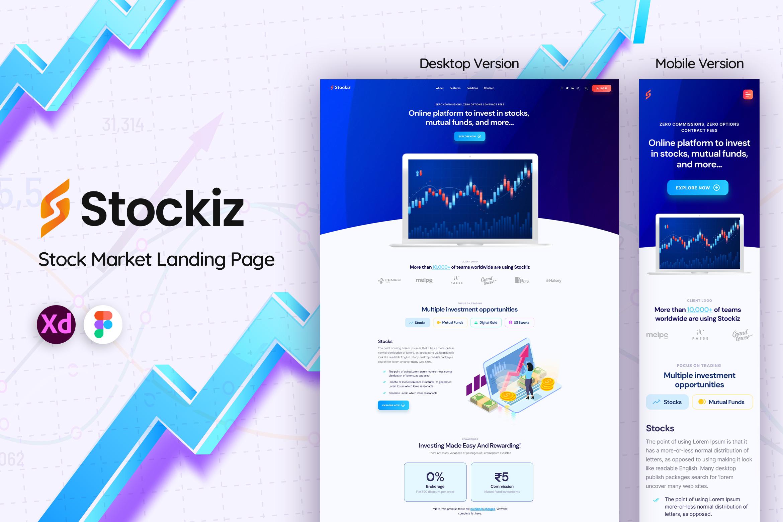 Stockiz Mobile & Web Landing Page Template
